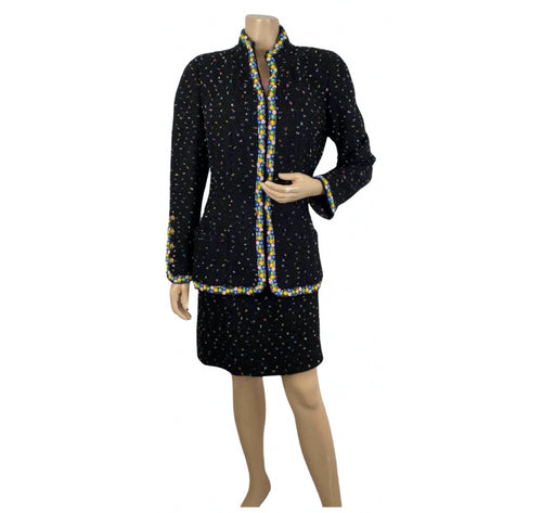 1980's Collection 23 Chanel Black Multicolor Confetti Jacket Skirt Suit Set US 8/10