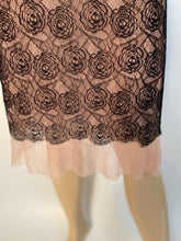 Load image into Gallery viewer, Rare Chanel 03P, 2003 Spring Camellia Flower Pink Black Lace Satin Blouse with matching Skirt Set FR 36 US 4