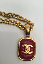 Load image into Gallery viewer, Chanel vintage 97P gold turnlock CC red Gripoix stone necklace
