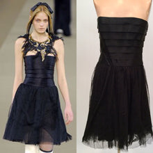 Load image into Gallery viewer, Chanel 06A, 2006 Fall Black Layer Lace Mini Tube Dress FR 38 US 4