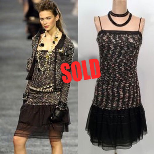 Vintage Chanel 04A, 2004 Fall Tweed Black multicolor Mini spaghetti strap Dress FR 36 US 4/6