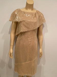 Chanel 08P 2008 Spring Beige Sequin Cocktail Dress FR 36 US 4