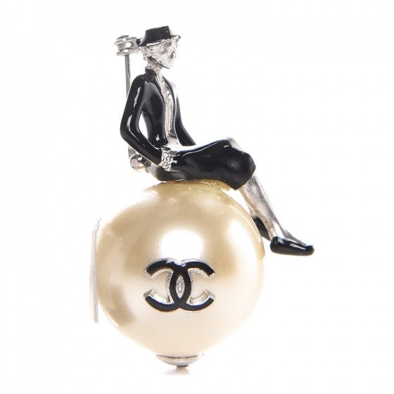 Vintage Chanel 2002 Coco Mademoiselle Sitting on Large CC Resin Pearl Brooch Pin