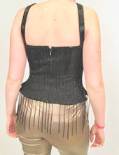 Load image into Gallery viewer, Vintage Chanel 00A Fall Autumn Black Fringe Beaded Tube Camisole Top Blouse FR 40 US 4