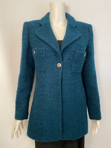 97A, 1997 Fall Chanel Vintage emerald green Boucle wool blazer long jacket FR 40 US 6/8