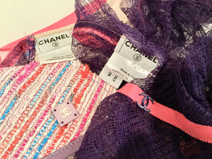 Chanel Vintage 03C Cruise Resort Summer sheer cardigan camisole 2 piece twinset US 4