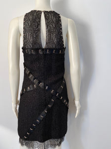 Chanel 2003 Fall 03A Snap Collection Black Tweed Boucle Satin with Camellia lace dress US 4