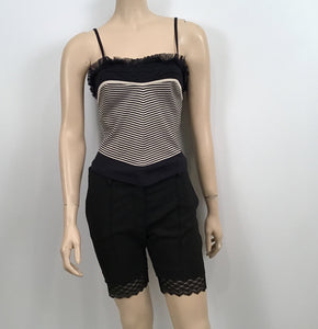Chanel 2004 Spring, 04P Black Bermuda Lace trimmed Shorts FR 38 US 4/6