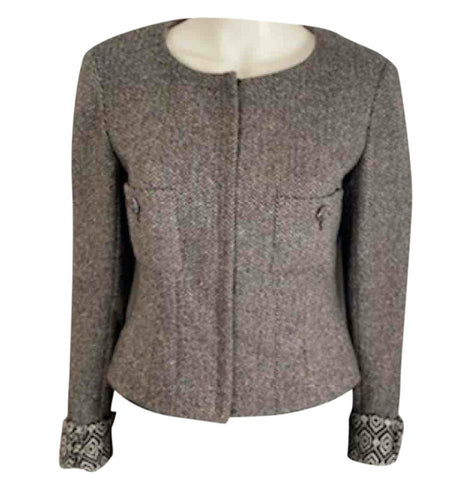 Chanel 08A 2008 Fall Collarless Herringbone Jacket with removable Cuffs FR 40 US 4