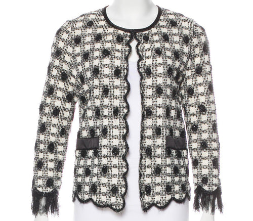 Chanel Vintage 06A Fall Tweed Cotton Cardigan scalloped tweed cardigan knit Sweater Cardi Coat Jacket FR 34 US 2