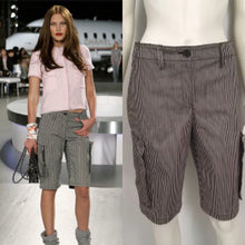 Load image into Gallery viewer, Chanel 08C Cruise Resort Pinstripe Denim Blue cargo Shorts FR 36 US 4