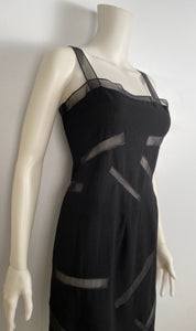 Vintage Chanel Boutique Black Dress with Sheer Rectangles FR 34-38 US 2/4/6
