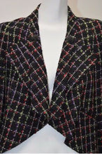 Load image into Gallery viewer, Chanel Black Multicolor Tweed Ostrich Feather Trim Blazer Dress Cardi Coat Jacket Coat FR 38 US 4/6