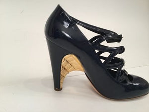 Chanel Navy Blue Patent Leather Quilted Gold Mary Jane Wedge Strap Heels 07A Fall Novelty Buckled Pumps EU 38 US 7/7.5