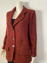 Load image into Gallery viewer, 97A, 1997 Fall Vintage Chanel Mahogany Rust Boucle Blazer Jacket FR 38
