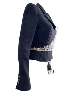 Rare Chanel 02A 2002 Fall Navy Blue Fitted Jacket with Crystal Embellishments FR 40 US 4/6