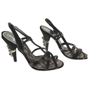 Chanel 04A 2004 Fall slingback Black Velvet and Patent Leather embellishments at heels EU 37.5 US 6.5/7