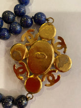 Load image into Gallery viewer, 95A, 1995 Fall Vintage Chanel Long Strand Blue Gold Stone CC Necklace