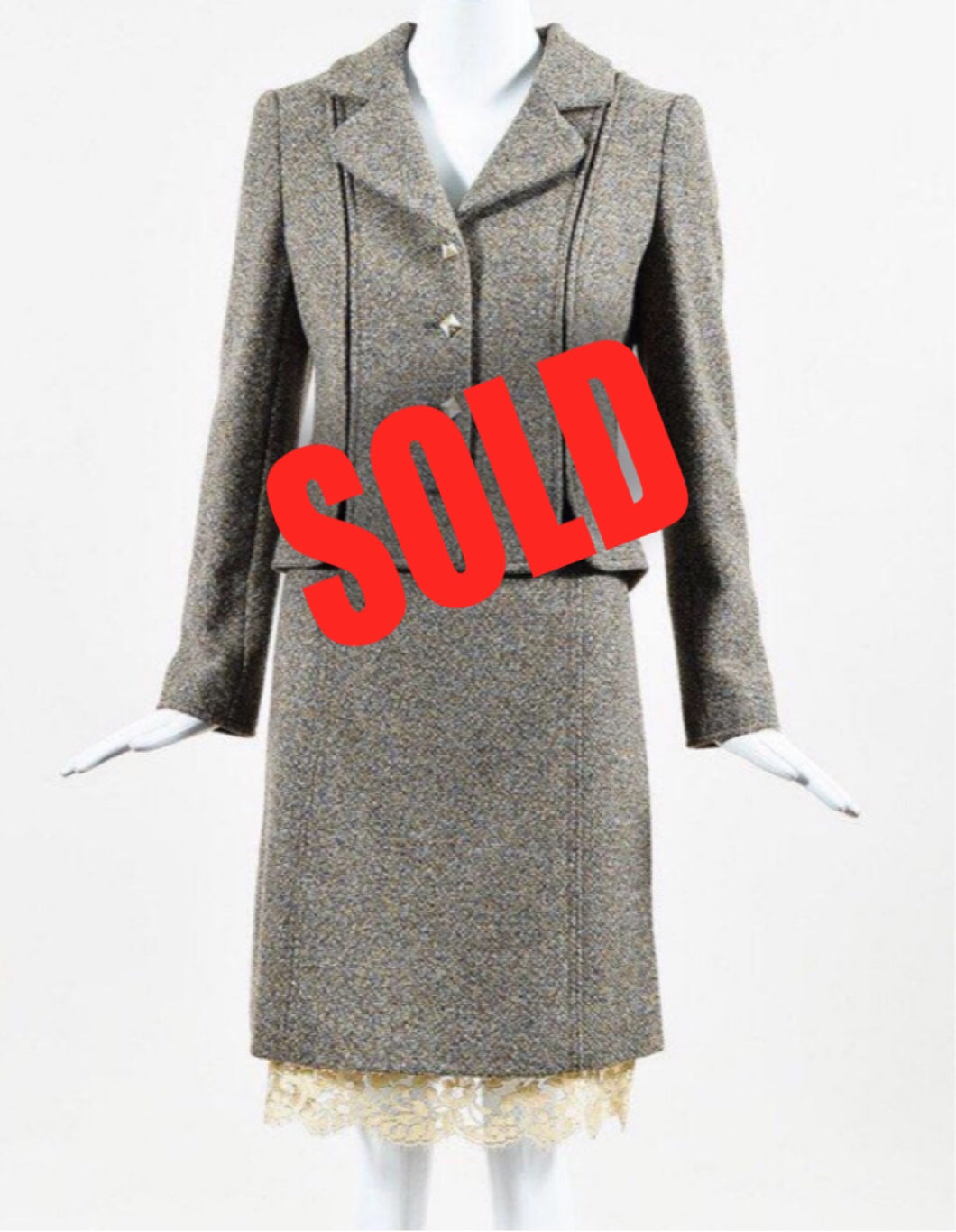 Chanel Vintage 03A, 2003 Fall Autumn Brown Tweed Lace Jacket Blazer Skirt Suit Set FR 48 US 14/16