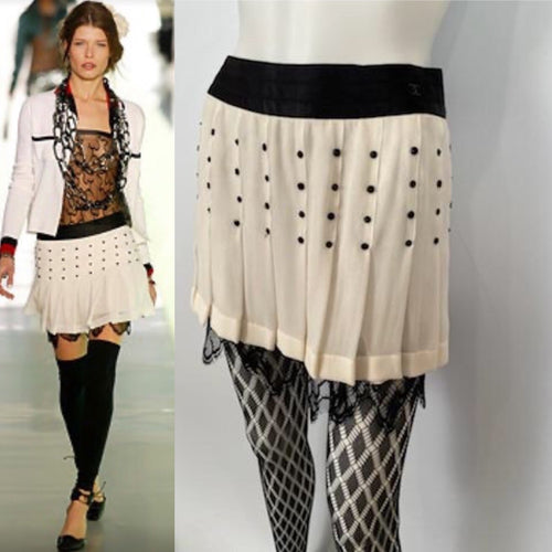 Chanel 2003 Fall 03A Snap Collection White Black Silk Mini Skirt FR 38 US 4
