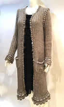 Load image into Gallery viewer, Chanel 04A Fall Cardigan Long Jacket Cardi Coat duster fall beige taupe silver mohair wool US 4