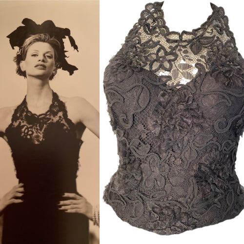 Vintage Chanel 95A Embroidered Lace Halter Evening Top Blouse US 4