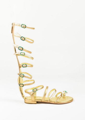 Chanel Gold Leather Gladiator Strap Gripoix Sandals EU 39.5