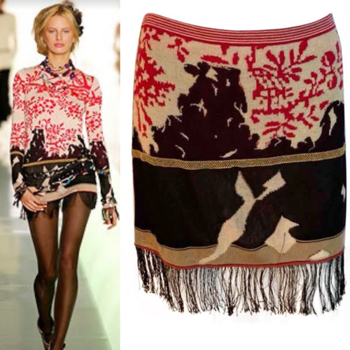Rare Vintage Chanel 03A, 2003 Fall Snap Collection Fringe Tassels Floral Skirt FR 38