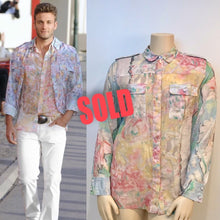 Load image into Gallery viewer, Chanel 2011 Resort Cruise Cotton pastel sheer ladies' blouse/ Men's shirt FR 44 US 12/14