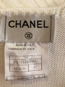 Vintage Chanel 99C, 1999 Cruise Resort white knit cotton short sleeve Blouse Top FR 42