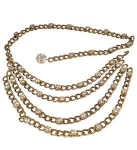 Chanel Vintage 1989 Crystal MultiStrand Chain Belt Gold Metal