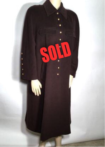 Chanel Vintage 1990 Long Brown Dress Coat Jacket US 14/16