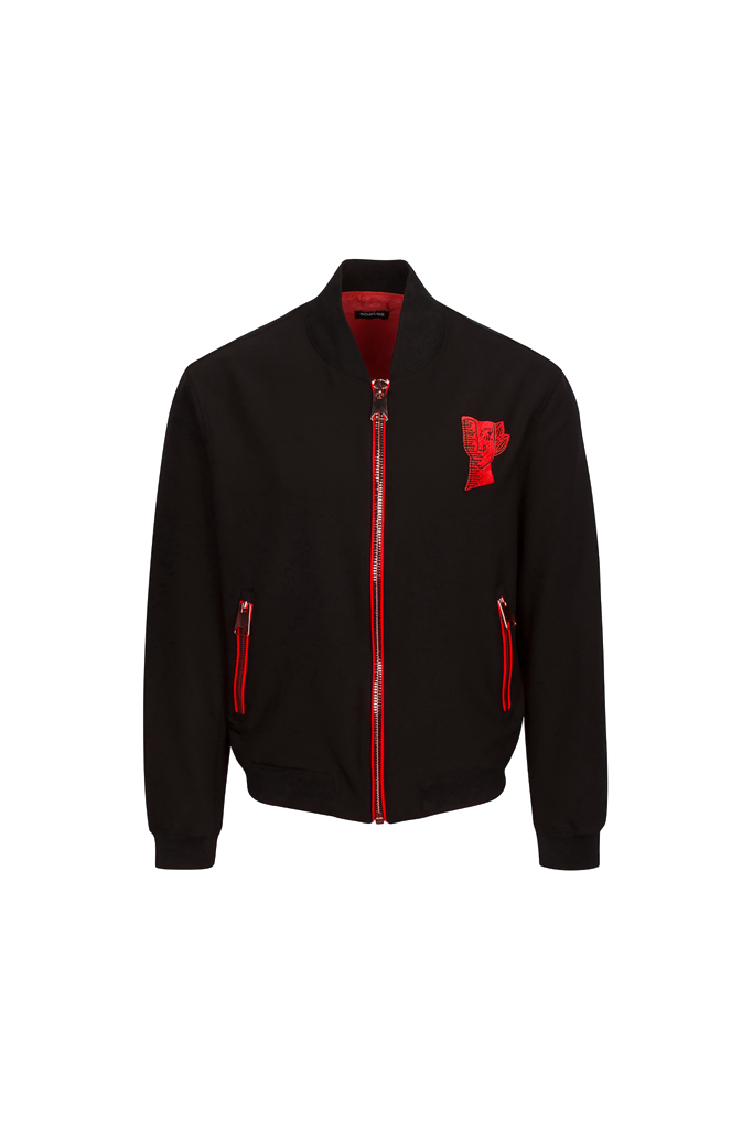 BLACK BOMBER JACKET WITH RED THUMISANG LOGO