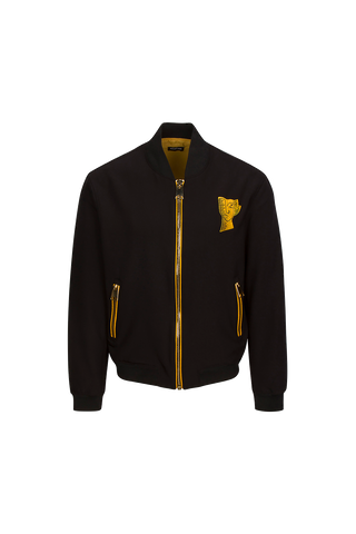 BLACK BOMBER JACKET WITH YELLOW THUMISANG LOGO