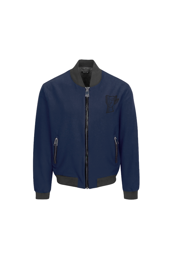 NAVY BOMBER JACKET WITH THUMISANG LOGO