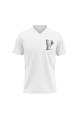 White Regular-Fit V-neck T-shirt with Black Thumisang Logo
