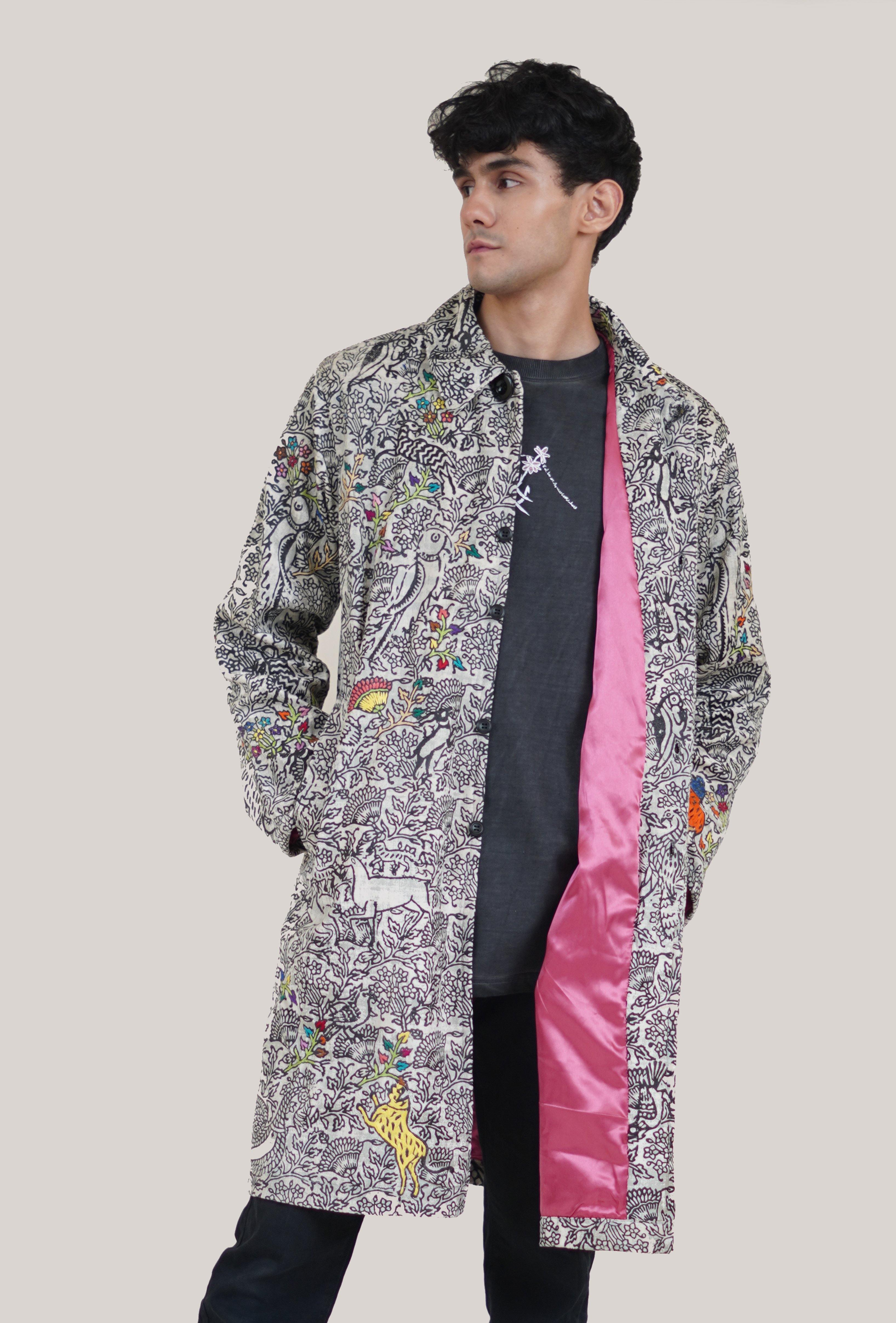 Hand Block Print and Embroidered Velvet Coat