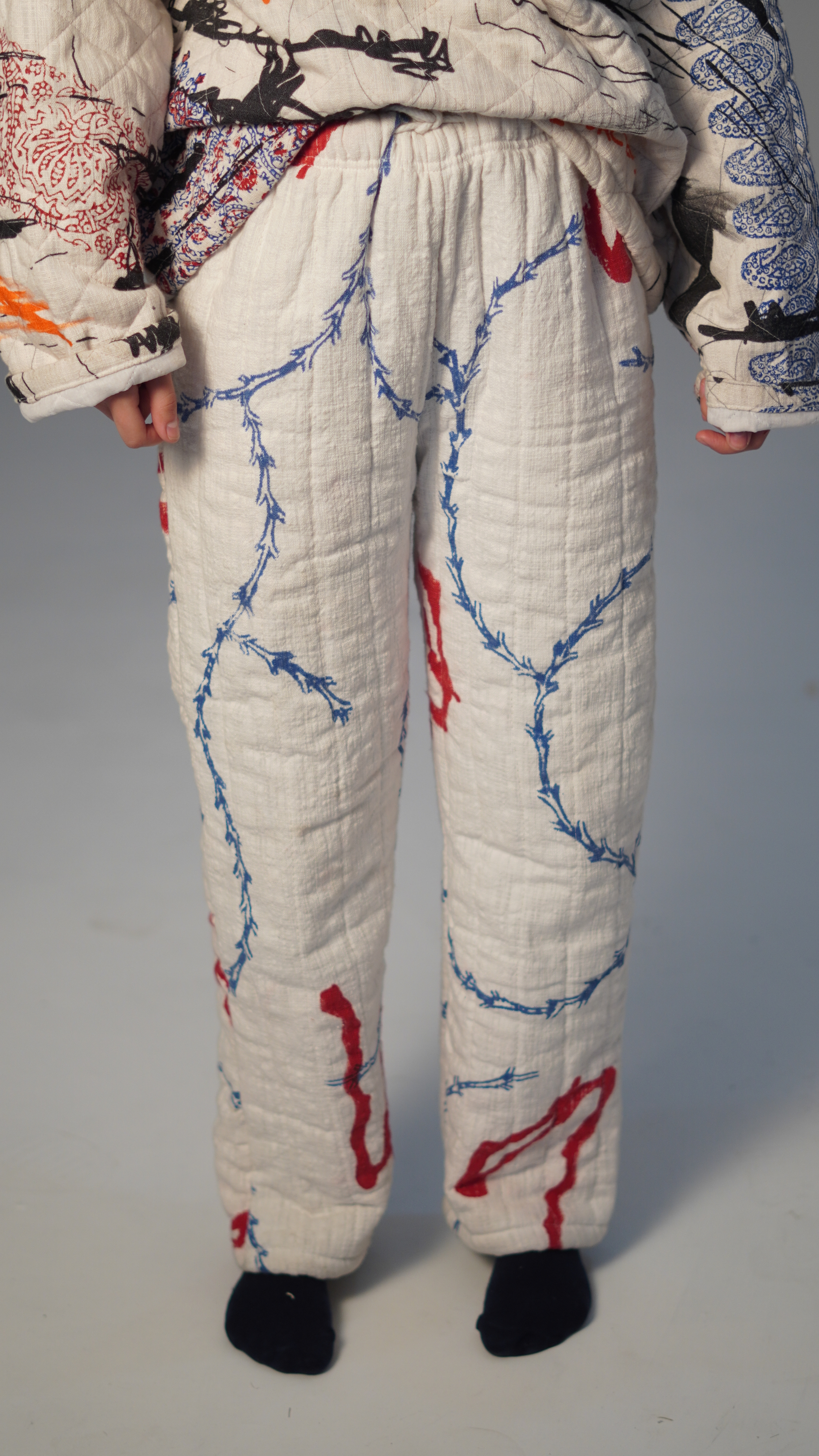 Quilted Block Print Sweatpants