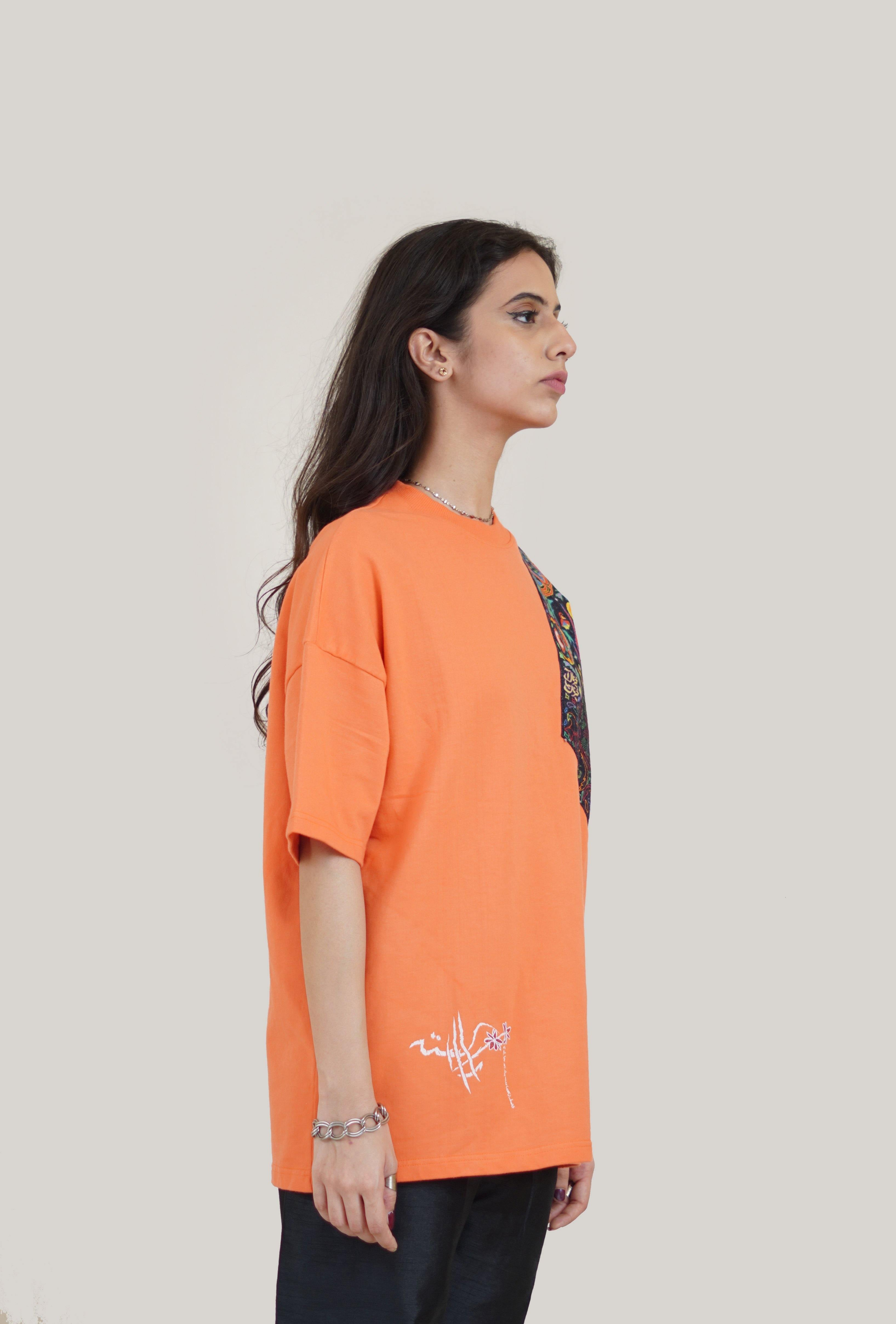 "Orange ""Starry Night"" Patch T-shirt"