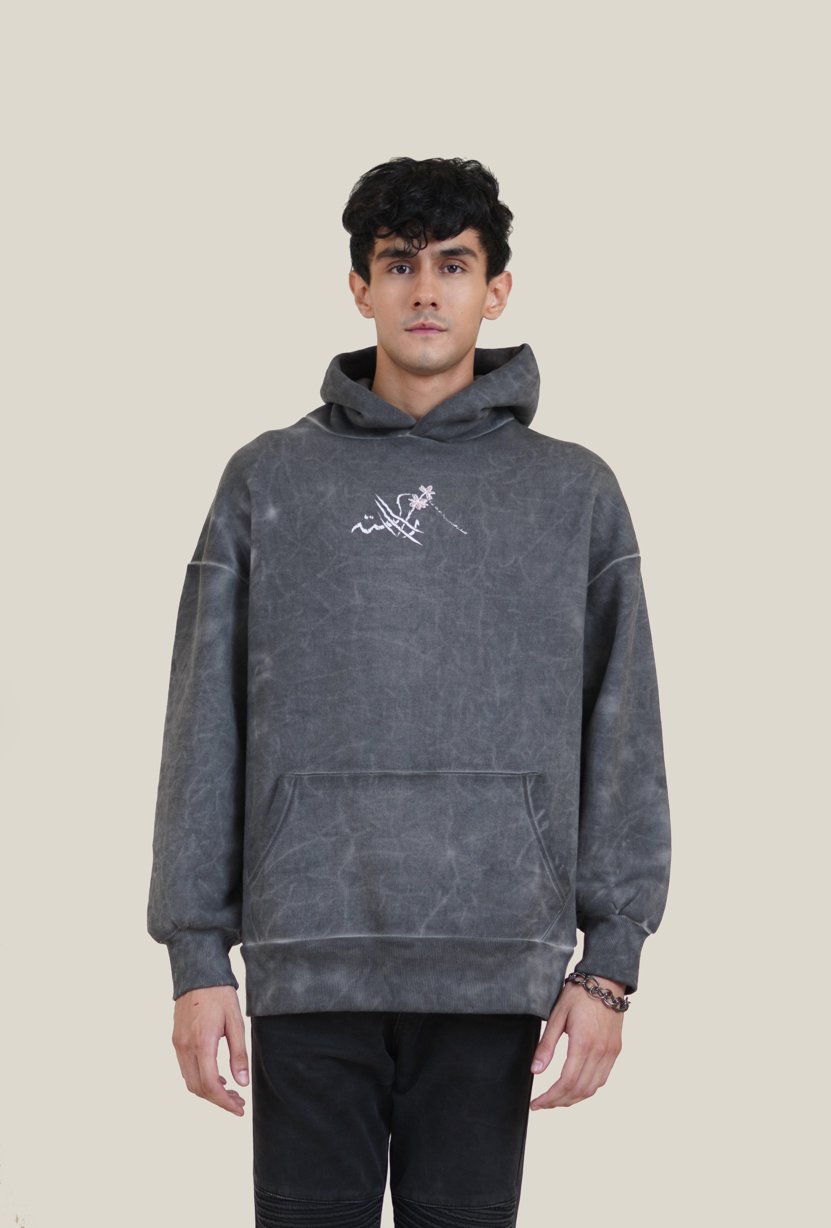 Grey Marble Wash Rooster Patch Hoodie