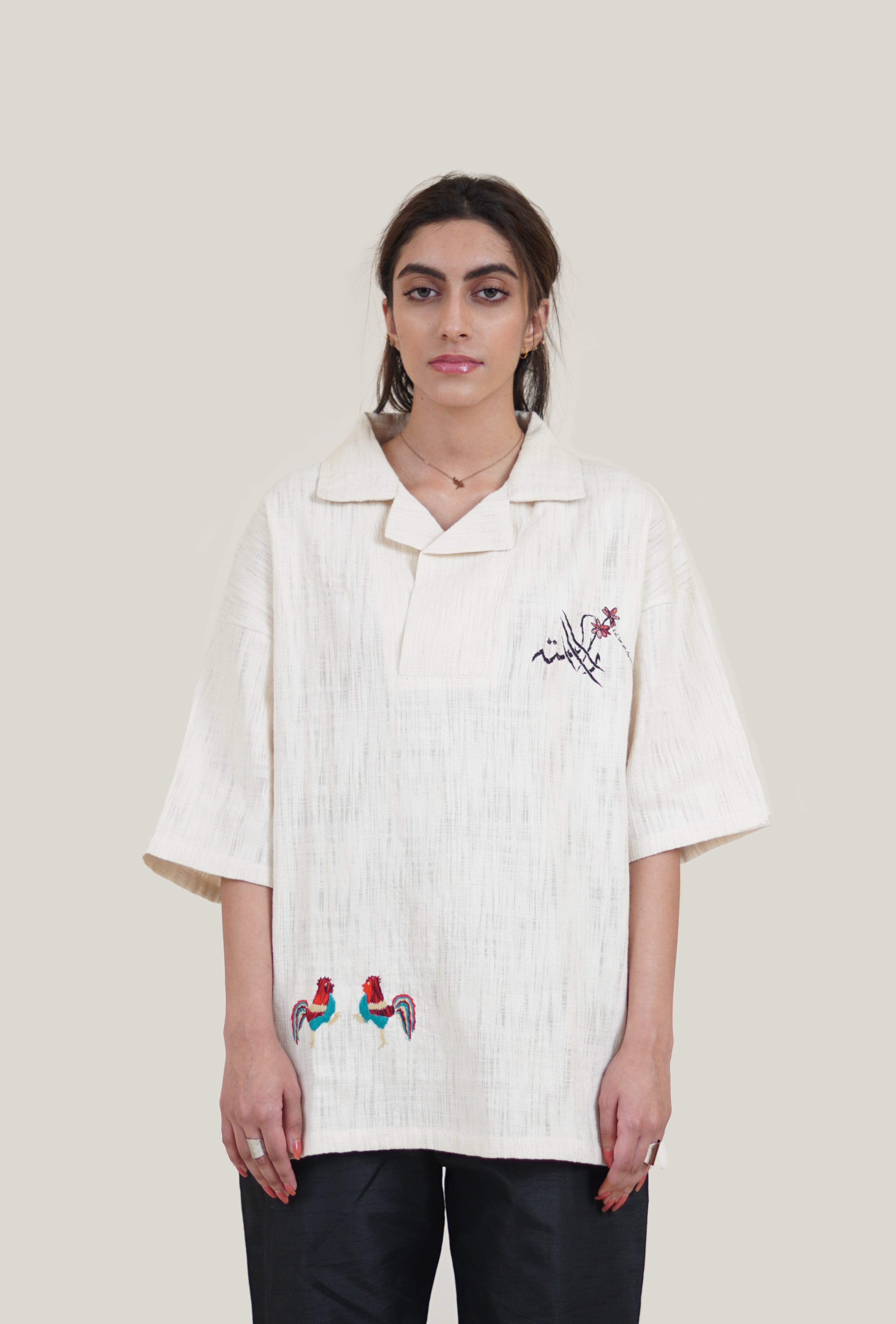 Rooster Hand Embroidered Shirt