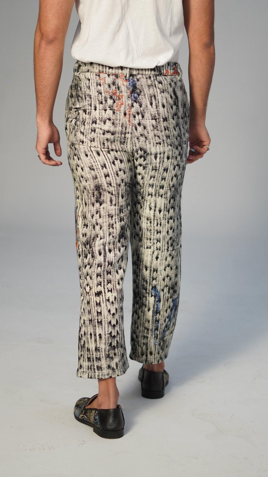 Motion Blur Block Print Hand-Woven Pant
