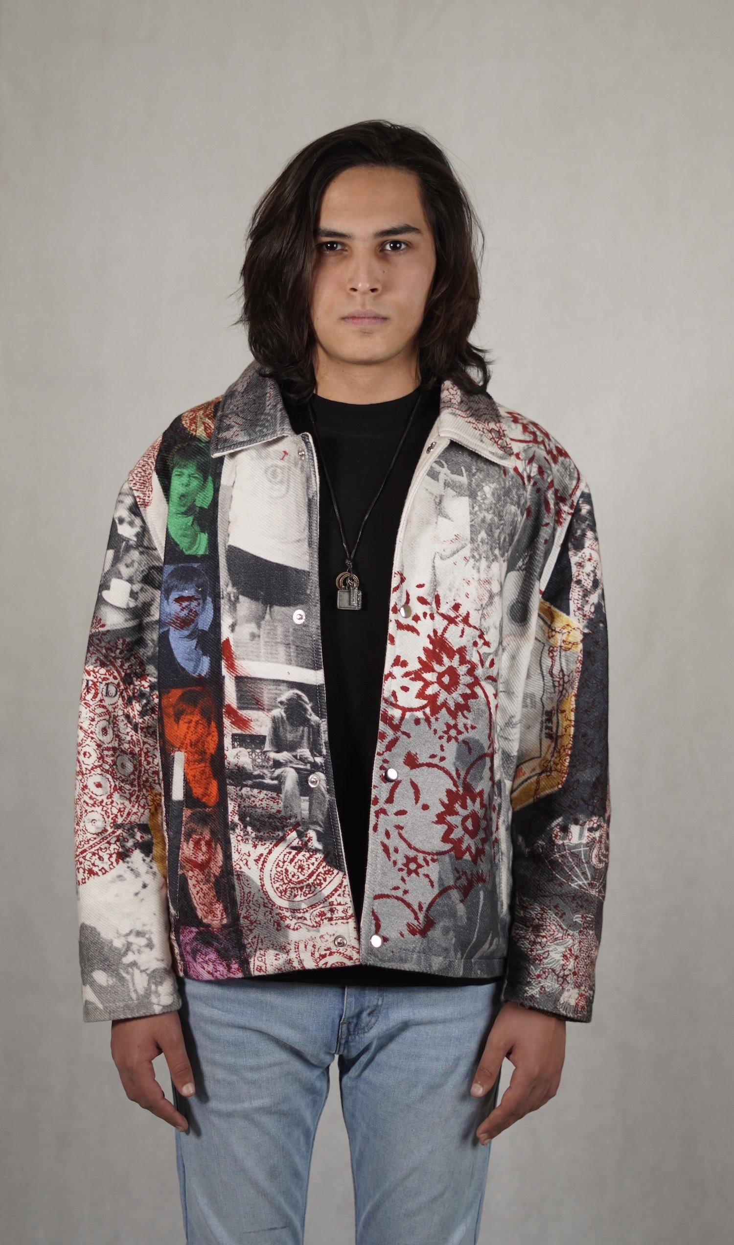 "Printed ""Notoriety"" Twill Jacket"