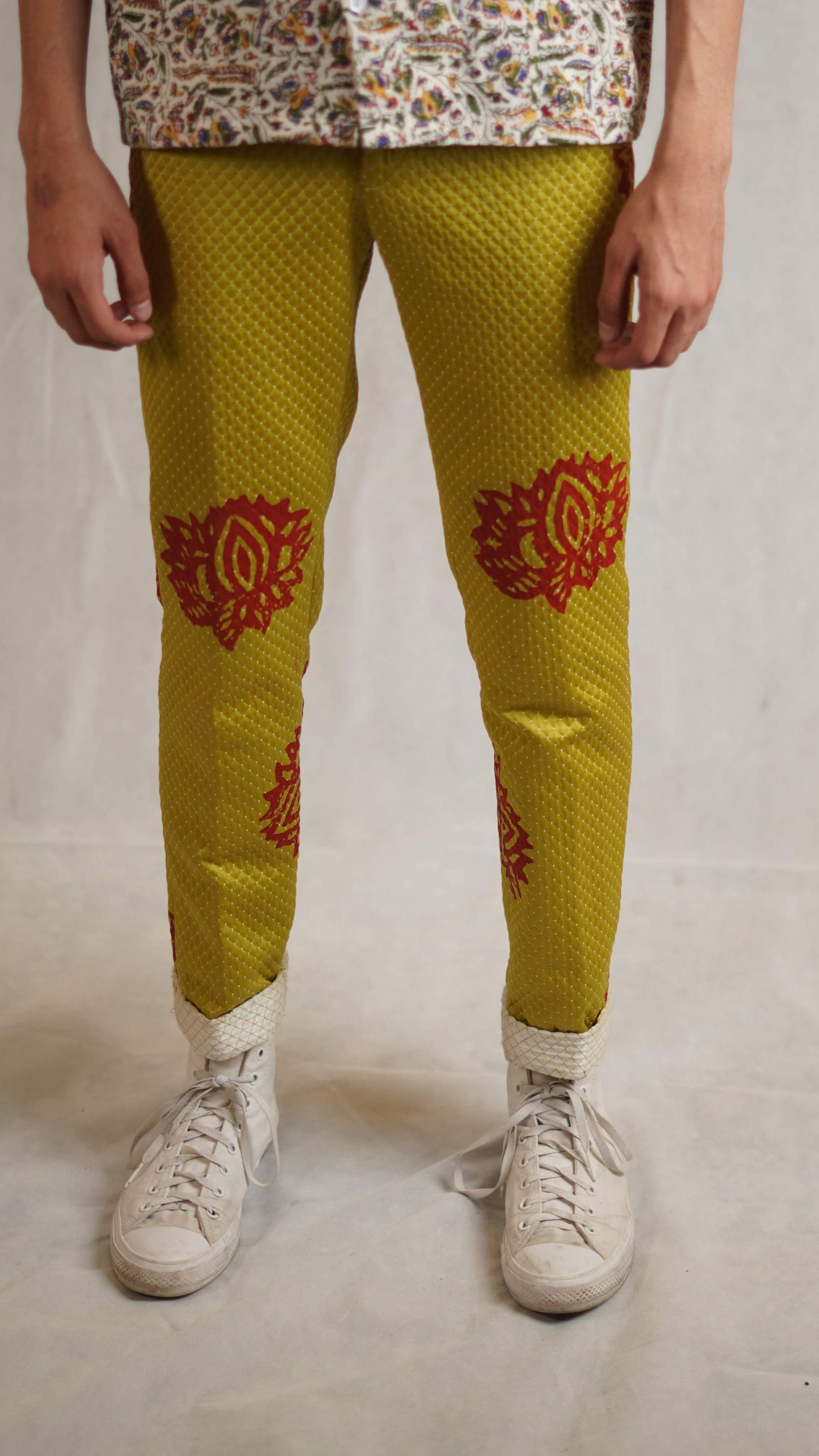 Lime green block printed trousers