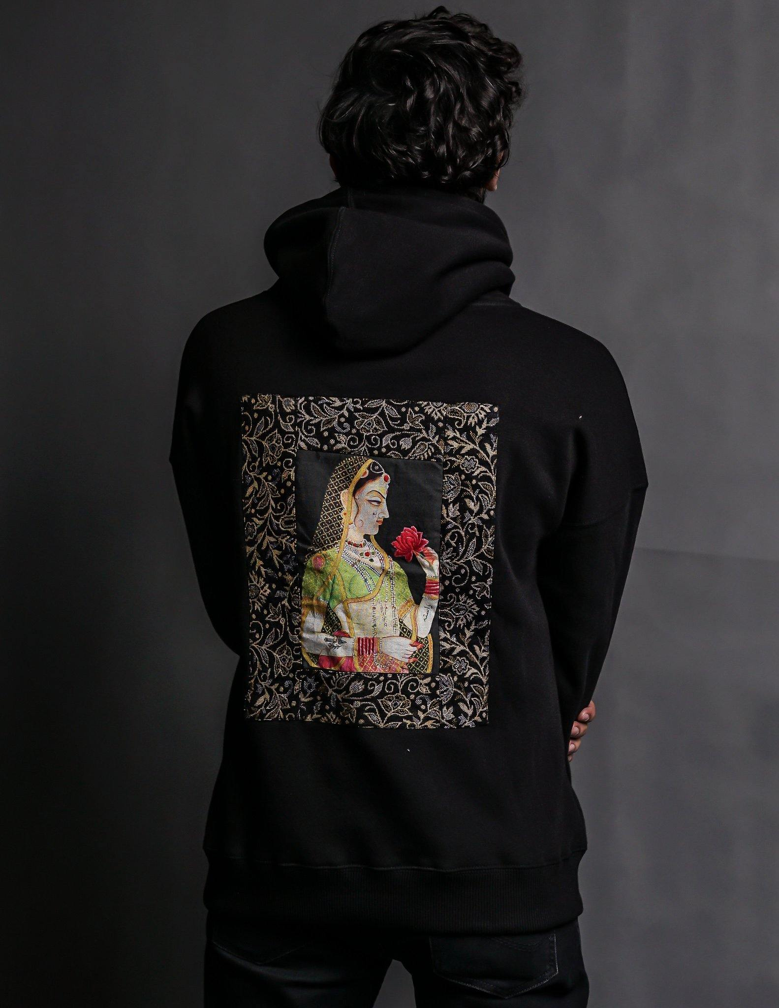 Hand Crafted Unisex Matte Black Mughal Princess Hoodie