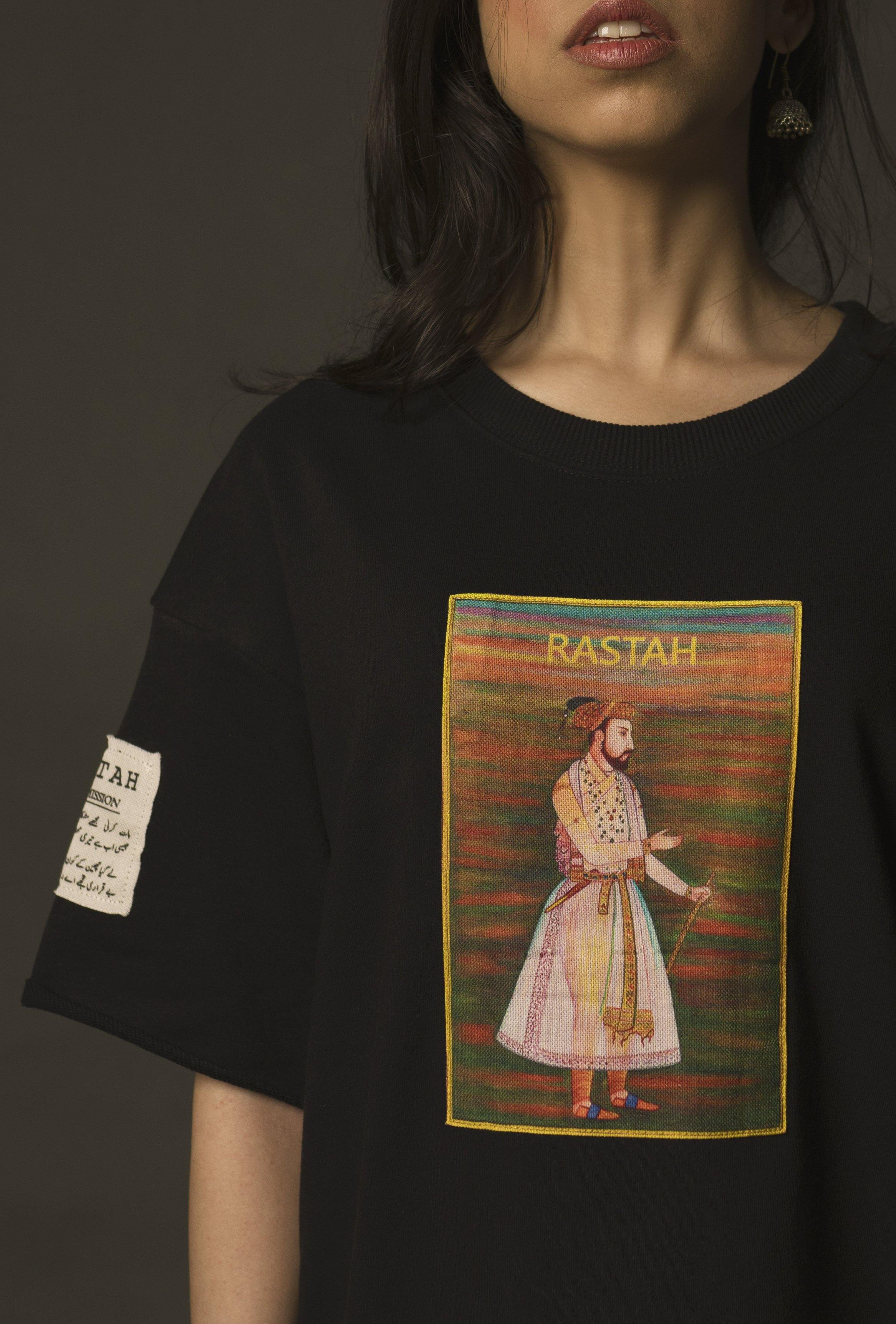 Hand Crafted Unisex Black Mughal Emperor T-Shirt (Cropped Fit)