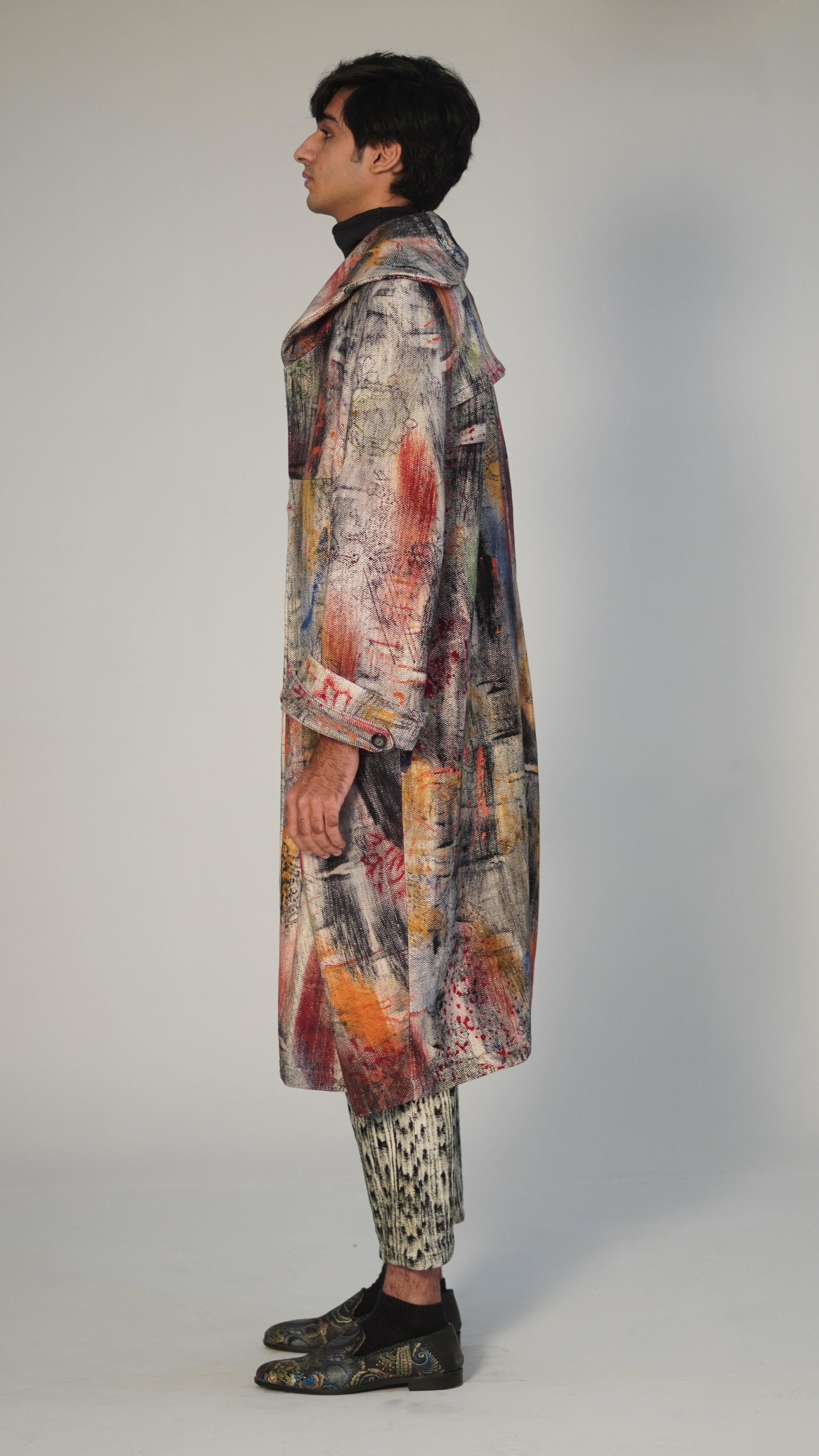 Hand Block Printed Pleated Long Coat