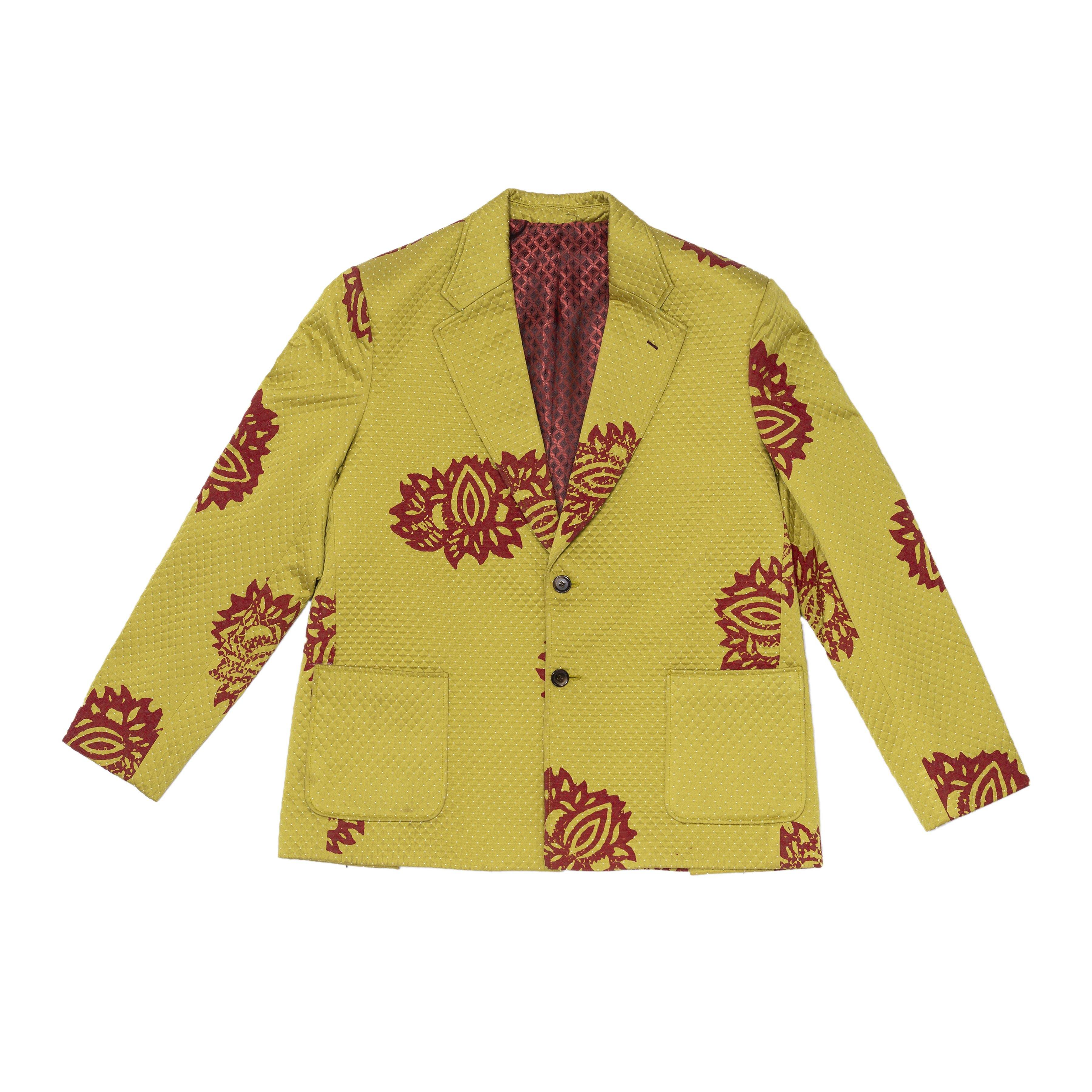 Lime Green Printed Oversized Silk Blazer