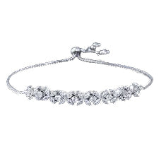 White CZ Zircon Stones Flower Charm Adjustable Bracelet