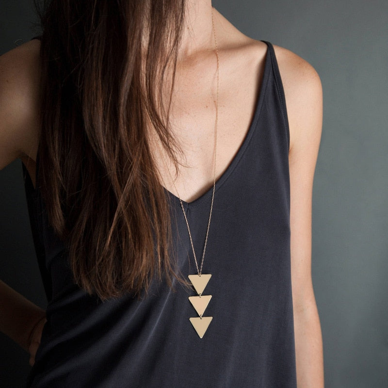 Long Triangle Chain Necklace